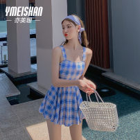 one piece  Yi Meishan S M L blue One piece flat corner swimsuit No steel support, no chest pad Nylon spandex YMS209321 Summer 2020 no female Sleeveless Casual swimsuit