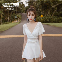 one piece  Yi Meishan S M L XL White swimsuit + mobile phone waterproof bag white swimsuit + silica gel bra a cup white swimsuit + silica gel bra B cup white swimsuit + silica gel bra c cup One piece flat corner swimsuit Steel strap breast pad spandex YMS209272 Summer 2020 no female Short sleeve