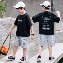 suit NGGGN Hzxt10 black hzxt10 blue 110cm 120cm 130cm 140cm 150cm 160cm male summer leisure time Short sleeve + pants 2 pieces Thin money There are models in the real shooting Socket nothing Cartoon animation cotton children Expression of love LE2103251736 Class B Cotton 100% Summer 2021 Yichang City