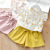 suit Other / other Pink Ruffle dot suit, yellow Ruffle dot suit 90cm.,100cm.,110cm.,120cm.,130cm. female summer Korean version Sleeveless + pants 2 pieces Thin money No model Single breasted nothing Dot cotton children J2053 Class B Cotton 90% other 10% Chinese Mainland Guangdong Province Foshan City