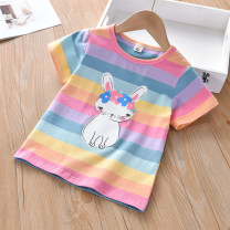 T-shirt Thepigbaby 80cm,90cm.,100cm.,110cm.,120cm.,130cm.,140cm.,150cm. female summer Short sleeve Crew neck leisure time No model nothing cotton Cartoon animation Cotton 95% other 5% x2042 Class B other 18 months, 2 years old, 3 years old, 4 years old, 5 years old, 6 years old, 7 years old