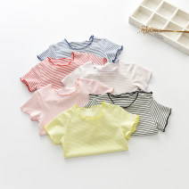 T-shirt Thepigbaby 80cm,90cm,100cm,110cm,120cm,130cm,140cm,150cm female summer Short sleeve Crew neck leisure time No model nothing cotton stripe Other 100% Class B other 18 months, 2 years old, 3 years old, 4 years old, 5 years old, 6 years old