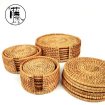 Coaster circular Self made pictures Autumn vine Chinese style Retro style yes