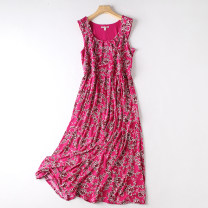 Dress Spring 2021 Black dots, rose red flowers, blue flowers M,L,1X,2X,3X,4X,5X longuette singleton  Sleeveless commute Crew neck middle-waisted Decor Socket A-line skirt routine 25-29 years old Type A printing other polyester fiber