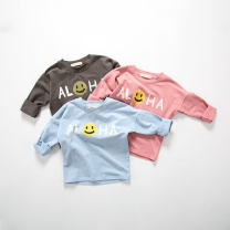 T-shirt Dousha powder smiley face T-shirt, blue smiley face T-shirt, carbon gray smiley face T-shirt Other / other 80cm,90cm,100cm,110cm,120cm neutral spring and autumn Long sleeves Crew neck leisure time There are models in the real shooting nothing Pure cotton (100% cotton content) Class A