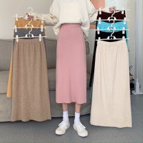 skirt Spring 2021 Average size Dark gray, black, pink, khaki, ginger, sky blue, jujube, cream apricot Mid length dress commute High waist skirt Solid color Type A 18-24 years old Korean version