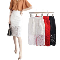 skirt Autumn 2020 S,M,L,XL,2XL,3XL,4XL Red, black, white Mid length dress commute High waist skirt Solid color Type H 25-29 years old Lace cotton Korean version