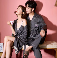 Pajamas / housewear set lovers Other / other Polyester (polyester) Long sleeves Simplicity pajamas summer Thin money Small lapel Solid color trousers double-breasted youth 2 pieces rubber string silk Embroidery