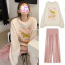 suit Other / other Top, pink wide leg pant, top + pink wide leg pant M,L,XL,XXL Korean version other spring and autumn routine other LMYZ-1-5 Pure cotton (95% and above)