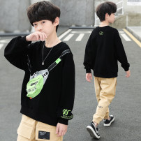 T-shirt Black White Purple 1 2 3 Butterfly rhyme 110cm 120cm 130cm 140cm 150cm 160cm 170cm male spring and autumn Long sleeves Crew neck leisure time There are models in the real shooting nothing other Solid color Other 100% A1140 other other Spring 2021