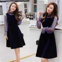 Dress Spring of 2018 navy blue S,M,L,XL,2XL Middle-skirt Two piece set three quarter sleeve commute Half high collar High waist Solid color zipper A-line skirt pagoda sleeve straps 25-29 years old Type A Other / other Korean version Strap, zipper 81% (inclusive) - 90% (inclusive) other other