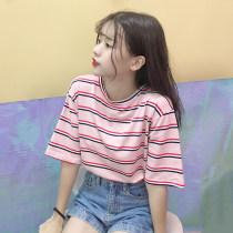 T-shirt 637 * white stripe 637 * Pink Stripe 637 * Blue Stripe MLXLXXL Summer of 2018 Short sleeve Crew neck easy Regular routine commute 18-24 years old Korean version youth Color matching Eternal declaration 2018YHXY637 Polyester 95% polyurethane elastic fiber (spandex) 5%