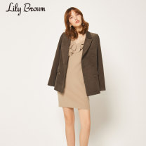 Dress Winter of 2019 Black Beige light blue mustard yellow F Mid length dress Long sleeves commute Crew neck Solid color Socket Lotus leaf sleeve 25-29 years old Lily Brown Lotus leaf edge LWNO195015 More than 95% other Other 100% Same model in shopping mall (sold online and offline)