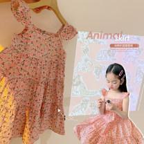 Dress Pink female Amybaby 80cm, 90cm, 100cm, 120cm, 130cm, 150cm, 110cm (Baoer photo code), 140cm (Amy life code) Other 100% summer literature Skirt / vest printing other Skirt / vest Pink animal floral skirt other