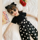 trousers Amybaby female 80cm, 100cm, 110cm, 120cm, 140cm, 150cm, 90cm (lucky photo code), 130cm (Amy life code) Black dot with white background - suspenders, white dot with black background - suspenders, classic black T-shirt, cream white T-shirt summer trousers Korean version rompers Leather belt