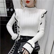 Wool knitwear Autumn 2020 Average size White, black, apricot Long sleeves singleton  Socket cotton 81% (inclusive) - 90% (inclusive) Regular routine Sweet Half height crew neck pagoda sleeve Solid color 18-24 years old