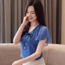 Lace / Chiffon Summer 2021 White, pink, red, blue M,L,XL,2XL,3XL,4XL Short sleeve commute Socket singleton  Regular V-neck Solid color 25-29 years old Other / other 81% (inclusive) - 90% (inclusive)