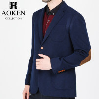 man 's suit royal blue Okun Youth fashion thick Wool 73% Silk 18% Cashmere 9% standard Double breasted go to work Double slit youth Long sleeves Four seasons routine Youthful vigor Casual clothes Flat lapel Round hem Solid color Regular collar (collar width 7-9cm) Woollen cloth 2020 other wool
