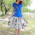 skirt Spring 2020 55cm one size fits all Bamboo leaf Short skirt Versatile Natural waist other Decor 25-29 years old 31% (inclusive) - 50% (inclusive) hemp Stitching, printing