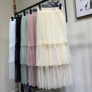 skirt Summer 2020 Average size Mid length dress Versatile High waist Cake skirt Solid color Splicing
