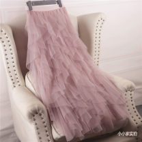 skirt Autumn of 2018 Average size Mid length dress Versatile Cake skirt Solid color Other / other Gauze