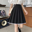 skirt Summer 2020 M,L,XL,2XL,3XL,4XL black Middle-skirt Versatile High waist A-line skirt Solid color Type A Leilei Three dimensional decoration