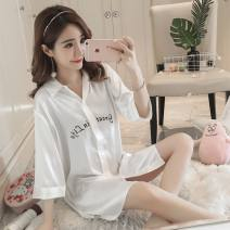 Pajamas / housewear set female Other / other M,L,XL F8296 white, f8296 blue Polyester (polyester) Middle sleeve sexy pajamas summer Thin money Small lapel Solid color double-breasted youth one-piece garment More than 95% silk Embroidery Middle-skirt