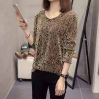 Women's large Autumn 2020 Black, gold L [recommended 90-120 Jin], XL [120-140 Jin], 2XL [140-160 Jin recommended], 3XL [160-180 Jin recommended], 4XL [180-200 Jin recommended] Knitwear / cardigan easy Long sleeves Crew neck routine routine