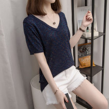 Women's large Summer 2021 Black, navy blue L [about 90-120 kg recommended], XL [about 120-140 kg recommended], 2XL [about 140-160 kg recommended], 3XL [about 160-180 kg recommended], 4XL [about 180-200 kg recommended] T-shirt singleton  commute easy moderate Socket Short sleeve V-neck routine routine