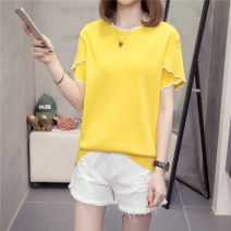 Women's large Summer 2021 White, yellow, black XL [recommended weight 90-125 kg], 2XL [recommended weight 130-155 kg], 3XL [recommended weight 160-180 kg], 4XL [recommended weight 180-210 kg] T-shirt singleton  commute easy moderate Socket Short sleeve Solid color Crew neck routine cotton routine