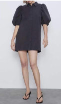 Dress Summer 2021 Lapel skirt with bubble sleeve and buttons S,M,L TRAF