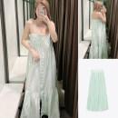 Dress Summer 2021 Green background white strip sling XS,S,M,L TRAF