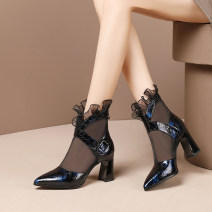 Sandals 34,35,36,37,38,39,40 PU Other / other Baotou Thick heel High heel (5-8cm) Spring 2021 zipper Europe and America Solid color Adhesive shoes rubber daily Bag heel Gao Bang PU PU Cool boots Shaving