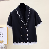 Women's large Summer 2021 black M [80-100 Jin], l [100-120 Jin], XL [120-140 Jin], 2XL [140-160 Jin], 3XL [160-180 Jin], 4XL [180-200 Jin] shirt singleton  easy moderate Cardigan Short sleeve routine routine Other / other