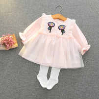 Dress White, pink, blue female Other / other 74, reference 65-70cm, 80, reference 70-75cm, 86, reference 75-80cm, 92, reference 80-85cm, 98, reference 85-90cm Other 100% spring and autumn Korean version Long sleeves Broken flowers other Splicing style other 2 years old