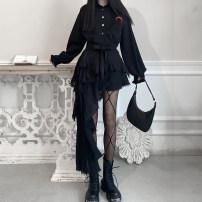 skirt Summer 2021 S,M,L Black skirt, suspender vest Short skirt street High waist Irregular Solid color 18-24 years old Asymmetry, web Punk