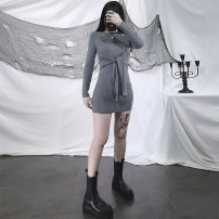 Dress Spring 2021 Black, gray S,M,L Short skirt singleton  Long sleeves street Crew neck High waist letter Socket One pace skirt routine Others 18-24 years old Type A Europe and America