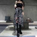 skirt Summer 2021 S,M,L black and white Mid length dress street High waist Irregular Type A 18-24 years old