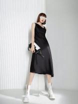 Dress Spring 2021 black XS,S,M,L,XL Mid length dress singleton  street High waist 25-29 years old Zero rules Europe and America