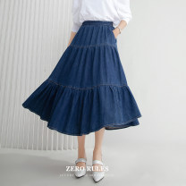 skirt Winter 2020 XS,S,M,L,XL blue street Solid color 25-29 years old More than 95% Zero rules cotton Button, stitching