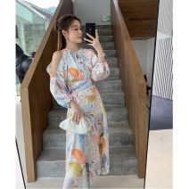 Dress Summer 2020 Decor S,M,L,XL longuette singleton  Long sleeves Sweet Crew neck High waist Broken flowers Socket A-line skirt bishop sleeve Others 18-24 years old Type A Print, bandage 71% (inclusive) - 80% (inclusive) Chiffon polyester fiber Bohemia
