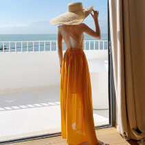 Dress Summer 2020 yellow S,M,L longuette singleton  Sleeveless Sweet V-neck High waist Solid color Socket Big swing other camisole 25-29 years old Type A Open back, lace up, bandage 71% (inclusive) - 80% (inclusive) Chiffon other Bohemia
