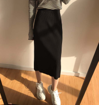 skirt Autumn of 2019 Average size black Mid length dress Versatile High waist skirt Solid color Type H 18-24 years old 51% (inclusive) - 70% (inclusive) knitting acrylic fibres Thread, asymmetric
