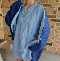 sweater Winter 2020 Average size blue Long sleeves Socket singleton  Medium length acrylic fibres 51% (inclusive) - 70% (inclusive) Crew neck Regular commute routine Solid color Straight cylinder Regular wool Keep warm and warm 18-24 years old Hollowed out, stitched, threaded, asymmetric