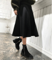 skirt Fall 2017 Average size Gray, black Mid length dress Versatile High waist A-line skirt Solid color Type X 18-24 years old 31% (inclusive) - 50% (inclusive) knitting cotton Thread, splice