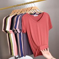 T-shirt Summer 2020 Short sleeve V-neck Self cultivation Regular routine commute modal  86% (inclusive) -95% (inclusive) Korean version Solid color Shengdongyuan