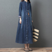 Dress Spring 2021 Black, blue M [95-120 kg], l [120-135 kg], XL [135-150 Jin], 2XL [150-170 Jin] Mid length dress singleton  Long sleeves commute Polo collar Loose waist Solid color Single breasted A-line skirt routine Others Type A Korean version pocket 51% (inclusive) - 70% (inclusive) Denim other