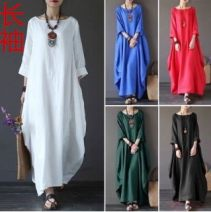 Dress Spring 2021 White, red, green, blue, black Big l [100-120 Jin], big XL [120-140 Jin], big 2XL [140-160 Jin], big 3XL [160-180 Jin], big 4XL [180-200 Jin], big 5XL [200-230 Jin] longuette singleton  Long sleeves commute Crew neck Loose waist Solid color Socket A-line skirt routine Others Type A