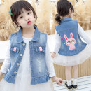 Vest female Other / other spring and autumn routine There are models in the real shooting Single breasted leisure time Denim Cartoon animation Chinese Mainland 12 months, 18 months, 2 years old, 3 years old, 4 years old, 5 years old, 6 years old, 7 years old, 8 years old