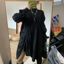 Dress Autumn of 2019 black Average size Mid length dress Long sleeves routine 30% and below